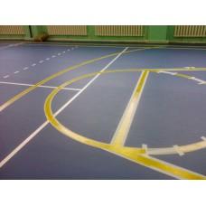 Нанесение спортивной  разметки по линолеуму (баскетбол, волейбол, теннис и флорбол)