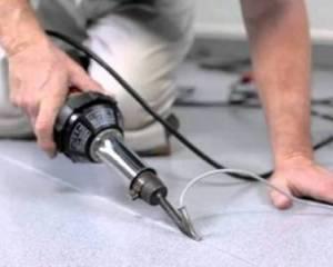 Сварка шва пвх напольного покрытия методов горячего расплава специального шнура
