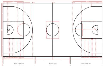 Разметка баскетбольной площадки по правилам ФИБА